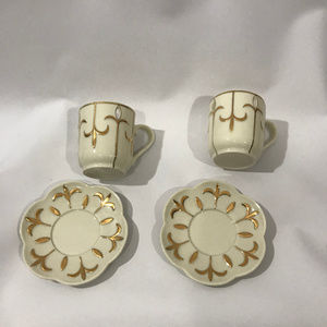 Set 2 Partylite Ivory Gold Tea Cup Votive Holders